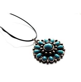 Cool Turquoise Blue Antque Bronze Colour Metal Flower Pendant