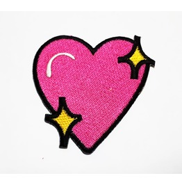 Pink Heart Embroidered Iron On Patch.