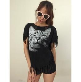 Grumpy Cat Animal Pop Rock Grunge Stone Wash Poncho Fringes M