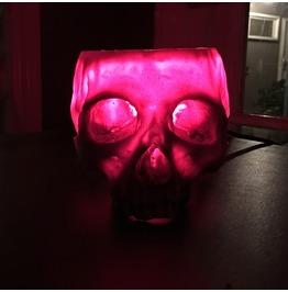 Red Glow Human Skull Lamp