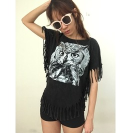 Owl Animal Fantasy Fashion Pop Rock Indie Stone Wash T Shirt Poncho Fringe