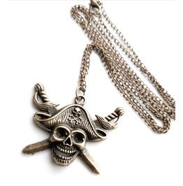 Cross Bones Old Bronze Antique Look Metal Pirate Skullhead Necklace