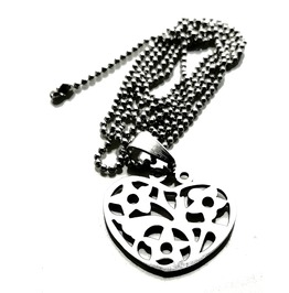 Enchanting Stainless Steel Heart And Flowers Design Pendant On Ball Chain