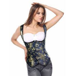 1444d92fd62 Vintage Blue And Gold Brocade Underbust Corset