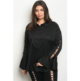 Black Pirate Goth Lace Up Sleeve Blouse Plus Sized