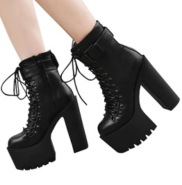 Black Mid Cut Buckled Lace Platform High Boots