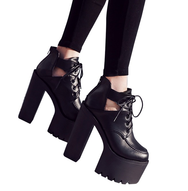 separation shoes cb291 d1cd8 Lace Up PU Leather Ultra High Thick Heels Platform Boots