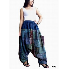 Drop Crotch Pants Patchwork ,Ohm Print Ooak Hp7