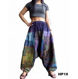 Harem Pants Drop Crotch Patchwork Ohm Print Ooak Hp18