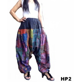 Harem Pants Drop Crotch Cotton Patchwork Ohm Print Ooak Hp2