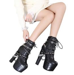 Punk Rock Women's Snake Skin Studded High Heels