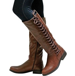 Rebelsmarket rocker womens lace up leather riding boots boots 5