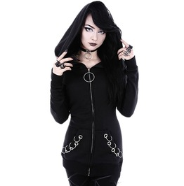Punk Rock Women's Black Ring Hoodied Sweater