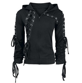Rebelsmarket streetsyle slim fit lace hooded jacket hoodies and sweatshirts 5