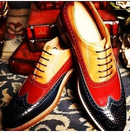 Handmade Men Three Tone Shoes, Men Wingtip Brogue Leather Shoes,Dress Shoes