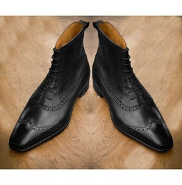 Rebelsmarket men wing tip brogue ankle boots men real leather boots men lace up boots dress shoes 3