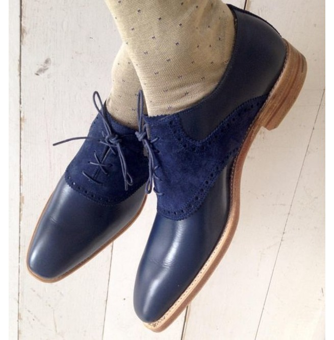 fb33421b37213 Handmade Men Navy Blue Suede And Leather Shoes, Lace Up | RebelsMarket