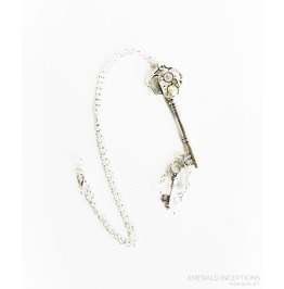 Silver Steampunk Key With Vintage Charms