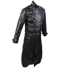 Mens Gothic Long Coat Black Genuine Leather Style Van Helsing Lea