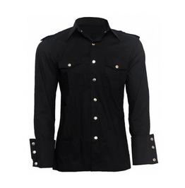 Rebelsmarket men gothic shirt alternative style military uniform punk men cotton shirt shirts 6