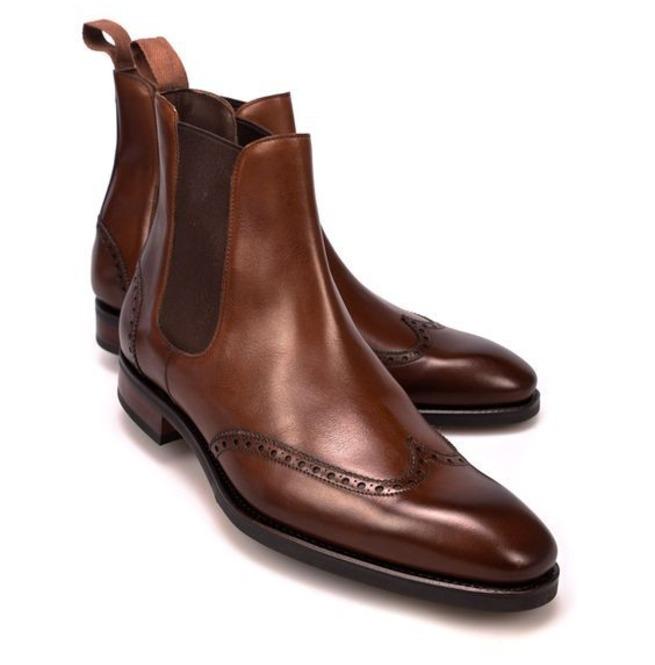 Handmade Men Brown Boots, Wingtip