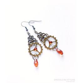Bronze Amber Cogs Steampunk Earrings