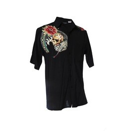 Mens Goth Zen Button Down Skull Snake Lotus Shirt