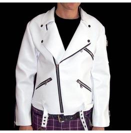 Dr. Frankenstein Faux Leather White Biker Jacket
