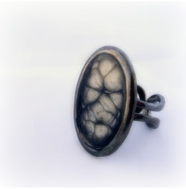 Black Cybergoth Ring, Gothic Steampunk Cell Ring