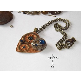 Clockheart Steampunk Copper Necklace Steamretro