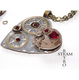 Clockheart Steampunk Silver Necklace Steamretro