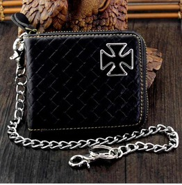 Punk Rock Biker's Leather Wallet With Waist Key Chain B60