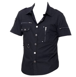 Rebelsmarket men short sleeve shirt gothic cotton shirt with zippers d rings for men shirts 3