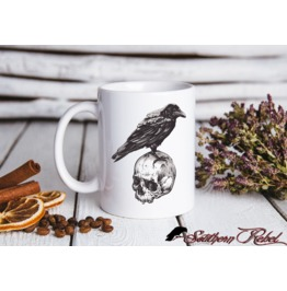 Crow And Skull10oz Ceramic Printed Mug