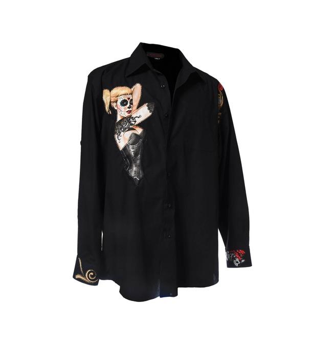 b51e778f08b29b Day Of The Dead Catrina Rocker Dress Shirt Long Sleeve | RebelsMarket