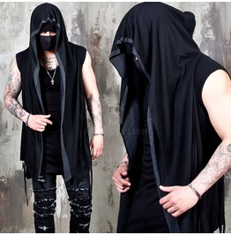 Contrast Mesh Layered Hooded Long Vest 96