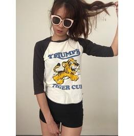 Tiger T Shirt 3/4 Long Sleeve Baseball Pop Punk Rock T Shirt M