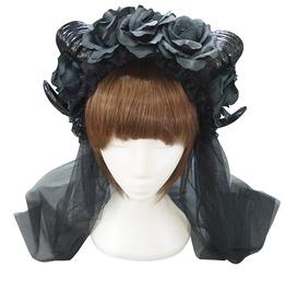 Gothic Ram Horn Veil Headpiece