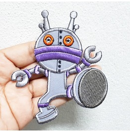 Gray Robot Embroidered Iron On Patch.