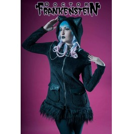 Dr. Frankenstein Women's Cat Eared Hooded Coat Jacket W/ Faux Fur Drfrk94