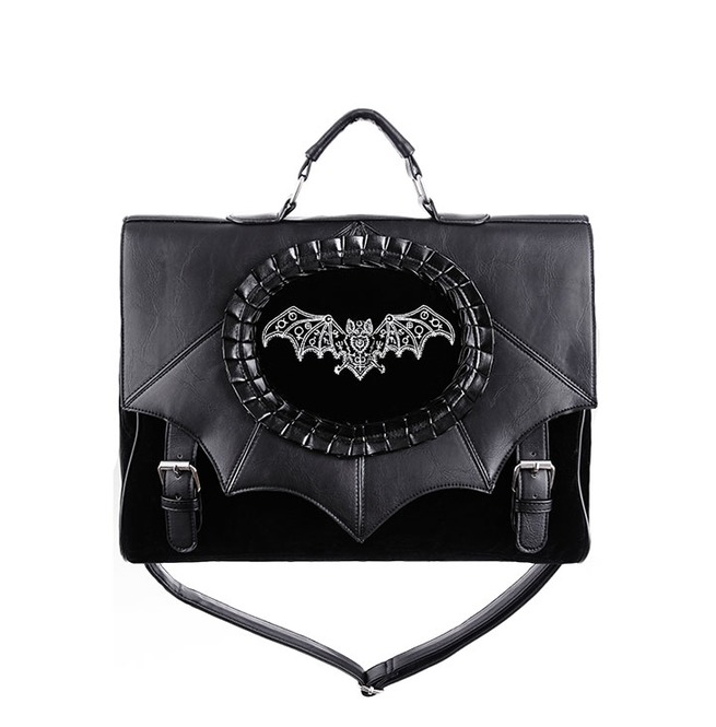 Tiberio Dark Side Bat Cameo Black Velvet Faux Leather  a6236c5008584