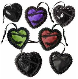 Dr. Frankenstein Heart Shaped Laced Trim Coin Purse Drfrk110
