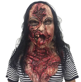 Adult Latex Scary Full Head Bloody Rotten Zombie Tongue Out Scary Mask