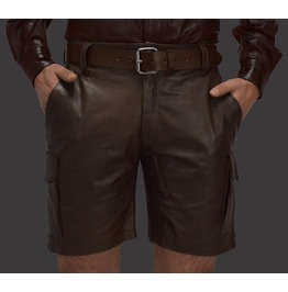 Men's Real Leather Cargo Shorts Brown Club Wear Casual Shorts Free Belt