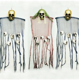 Halloween Skull Curtain Funny Bunting Hanging Ornament Bar Decor Accessory