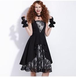 Gothic Vintage Lace Patchwork Black Dress