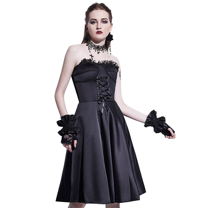 1fe3322c953ae Black A Line Tube Lace Up Strapless Vintage Goth Dress