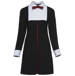 Rebelsmarket gothic vintage a line long sleeve bow zipper retro shirt dress dresses 7