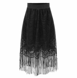 High Waist Lace A Line Tassel Patchwork Gothic Black Skirt