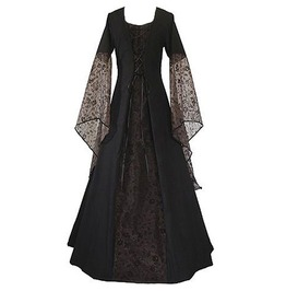 Flare Lace Sleeve Princess Prom Gothic Bandage Long Dress